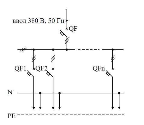 Схема распределительного пункта ПР11-013