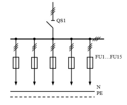 Схема первичных соединений распределительных шкафов ШР-1-21 У3