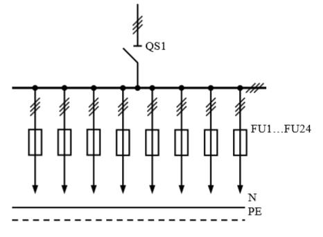 Схема первичных соединений распределительных шкафов ШР-1-27-У3