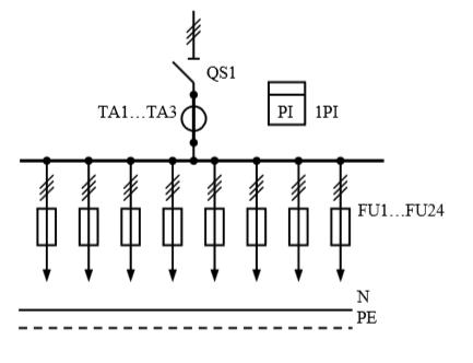 Схема первичных соединений распределительных шкафов ШР-1-31-У3
