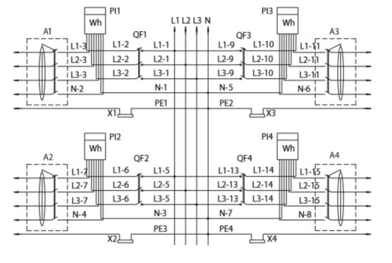 Принципиальная электрическая схема УЭРМ, ЩУР с трехфазным вводом