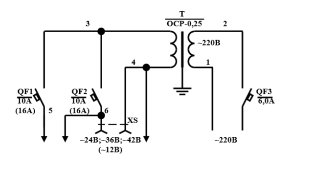 Схема электрическая принципиальная ЯТ–0,25