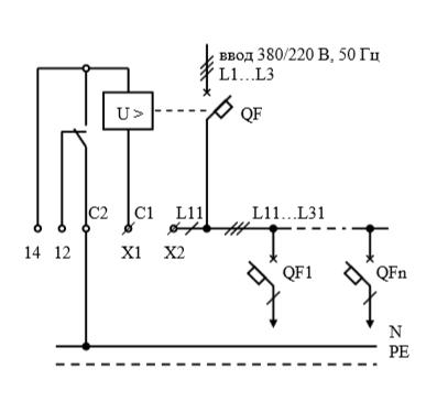 Схемы электрические принципиальные учетно-распределительных щитов для вентиляционных нагрузок