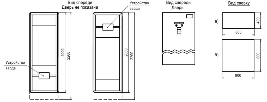 Шкаф ввода без устройства кабельной сборки с подводом кабеля сверху и снизу