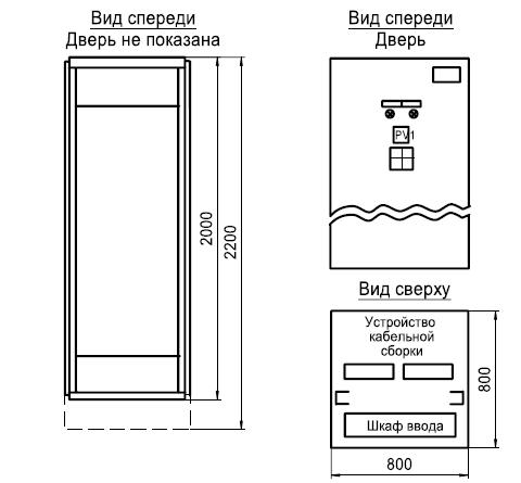 Шкаф ввода с устройством кабельной сборки с подовом сверху