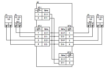 Схема подключения внешних устройств к КР-01