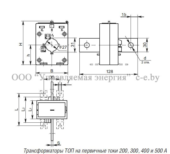 Трансформатор ТОП-0,66 на первичные токи 200, 300, 400, 500 А