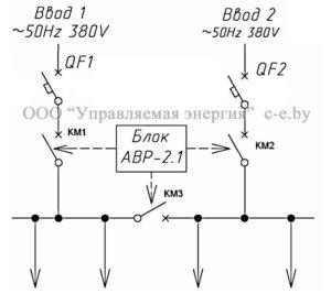 Схема БАВР-2.1 с применением автоматических выключателей и контакторов/магнитных пускателей KM1/KM2/KM3