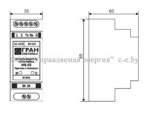 Габариты преобразователя интерфейсов МБ-02