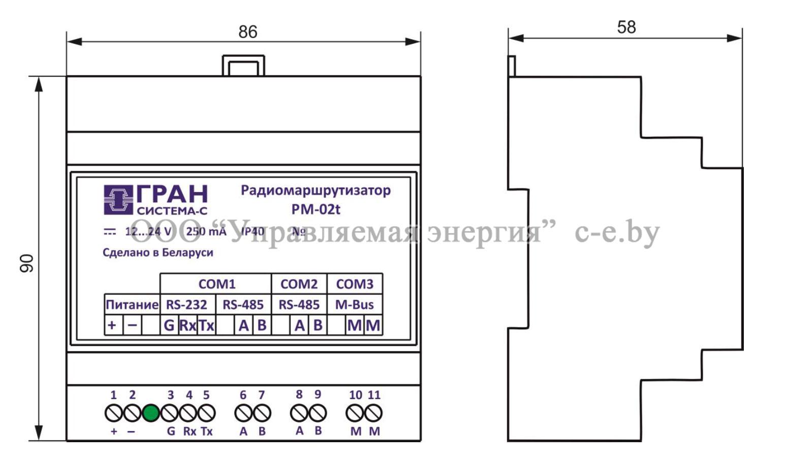 Внешний вид и габариты радиомаршрутизатора РМ-02t