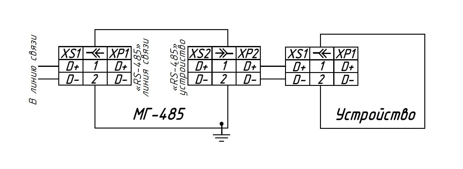 Схема подключения внешних устройств к модулю грозозащиты МГ-485