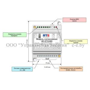 Расположение элементов подключения и индикации на ИС-ETH/485