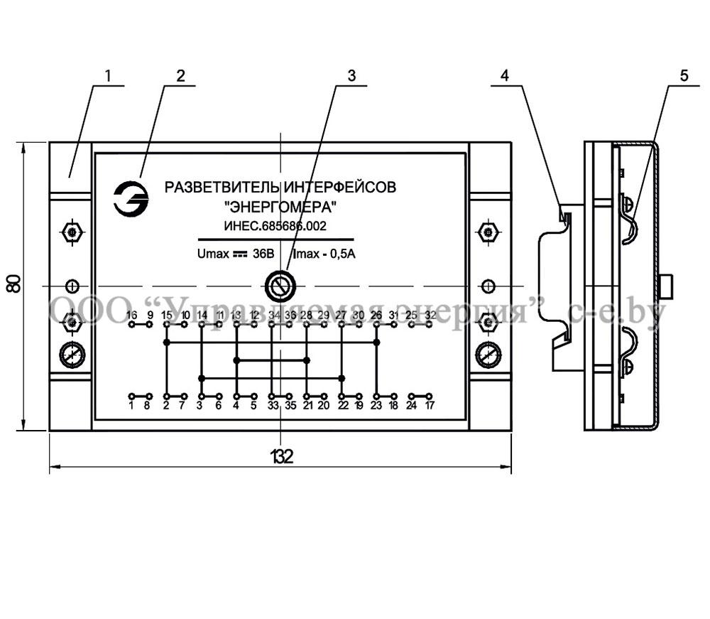 Общий внешний вид и габариты разветвителя СМВ 8-2, RS 485