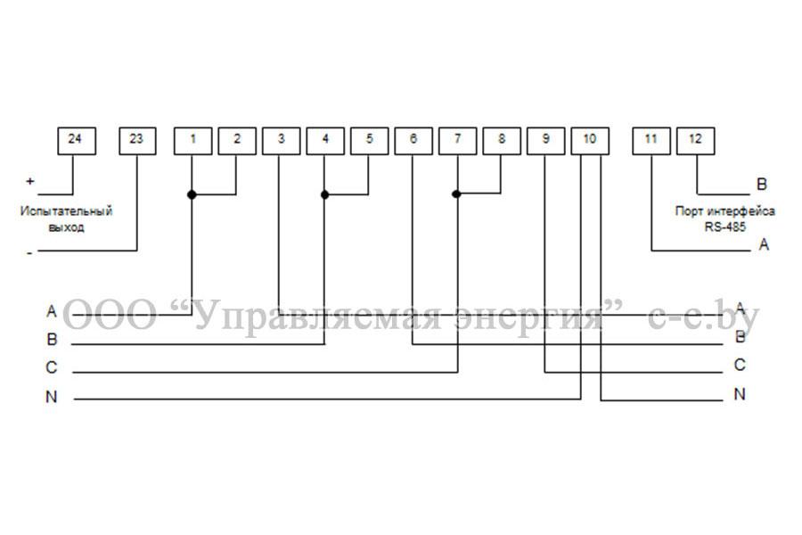 Схема подключения счетчиков ЭЭ8005/2 непосредственного включения