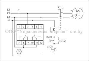 Схема подключения реле контроля фаз CKF-318-1