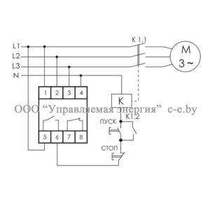 Схема подключения реле контроля фаз CZF-BR