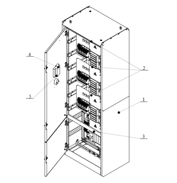 Общий вид шкафа автоматизированной конденсаторной установки