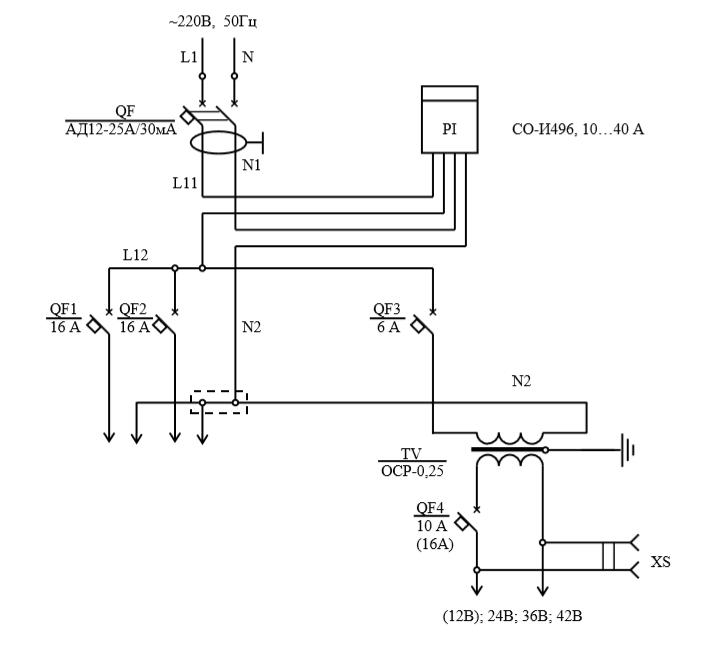 Схема электрическая принципиальная щитков ЩГ