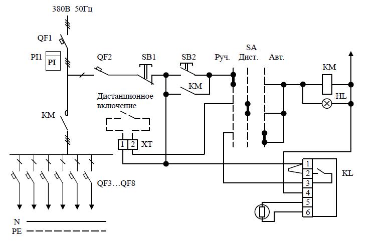 Принципиальная электрическая схема ЯУО-9611