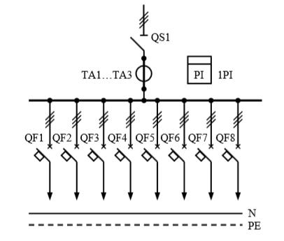 Схема первичных соединений распределительных шкафов ШР-1-33-У3