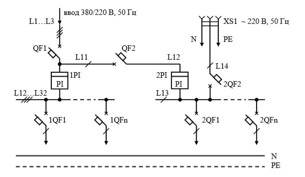 Схемы электрические принципиальные учетно-распределительных щитов общего назначения