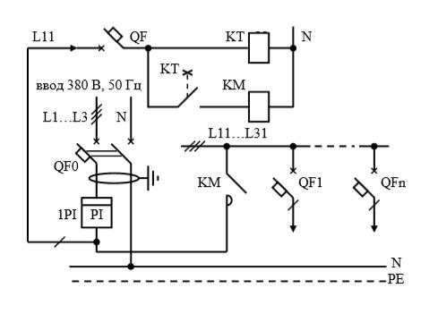 Схемы электрические принципиальные учетно-распределительных щитов для электротепловых нагрузок