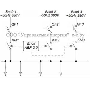 Схема БАВР-3.0 с применением автоматических выключателей QF1/QF2/QF3 и контакторов(магнитных пускателей) КМ1/КМ2/KM3