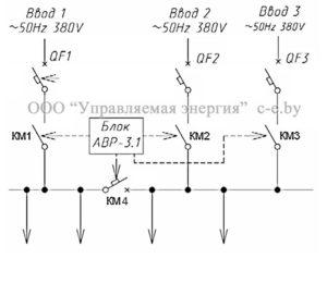 Схема БАВР-3.1 с применением автоматических выключателей и контакторов/магнитных пускателей KM1/KM2/KM3/KM4