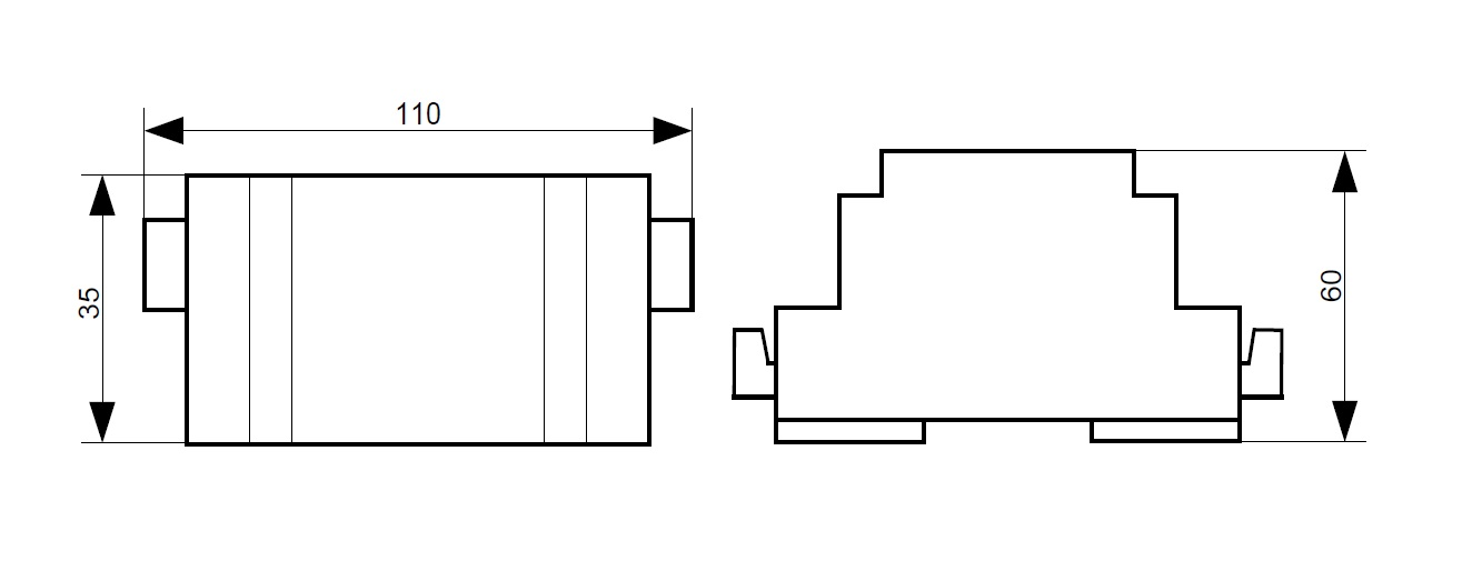 Габариты модуля грозозащиты МГ-485