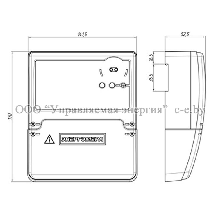 Габариты трехфазных счетчиков CE318BY в корпусе R32 не более, мм: 170х141х53